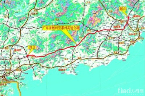 省重点工程项目潮惠高速路线图