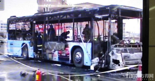 宁夏银川一辆公交车起火