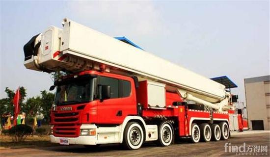 101米进口登高平台消防车工作斗最大负载400公斤,其登高平台伸开最大