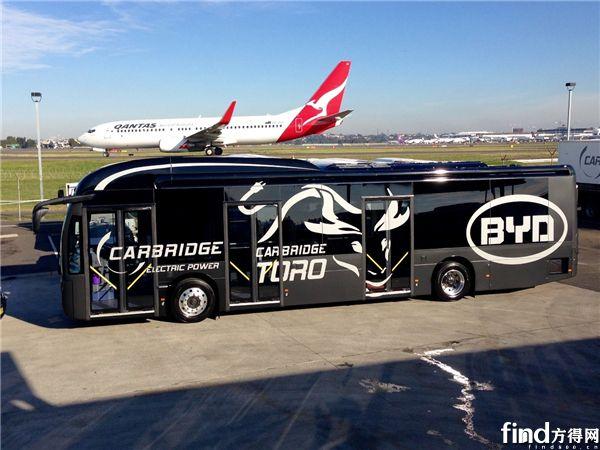 """在悉尼机场测试期间的""""黑金刚""""版比亚迪电动巴士"""