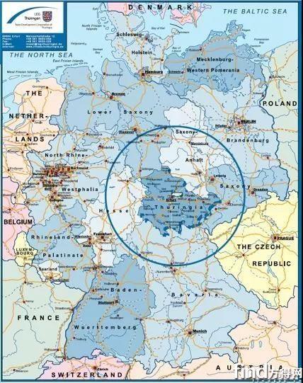 联邦德国图林根州地图