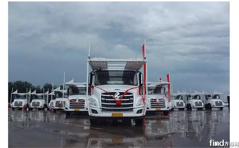 轿运车全部合规已足月  80台乘龙T5轿运车交付华阳储运5