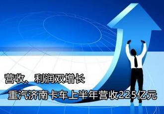 营收、利润双增长  重汽济南卡车上半年营收225亿元