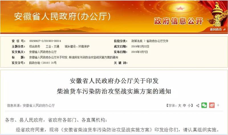 安徽7月1日起实施国六排放标准
