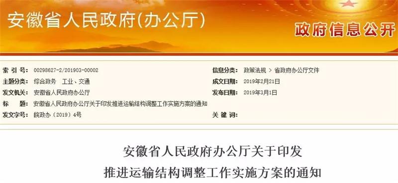 安徽省的运输结构将有重大调整