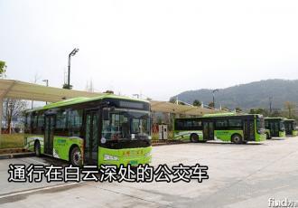 通行在白云深处的公交车