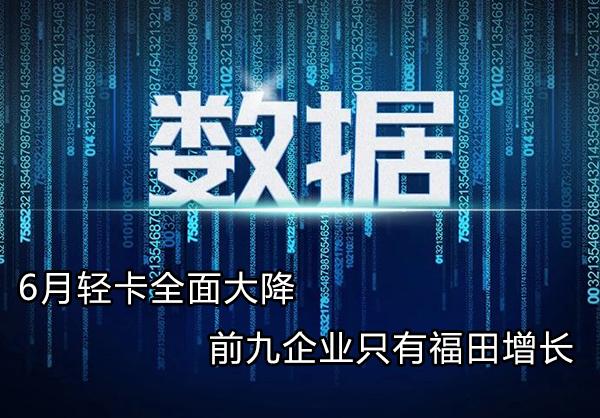 6月轻卡全面大降!前九企业只有福田增长!