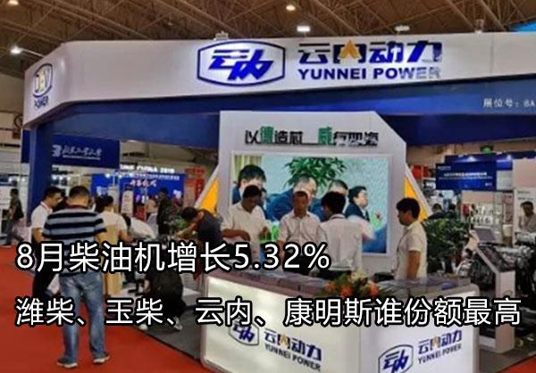 8月柴油机增5.32% 潍柴玉柴锡柴康明斯谁份额最高