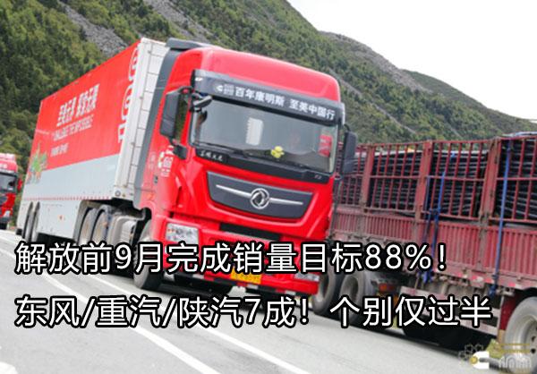 解放前9月完成销量目标88% 东风重汽陕汽7成