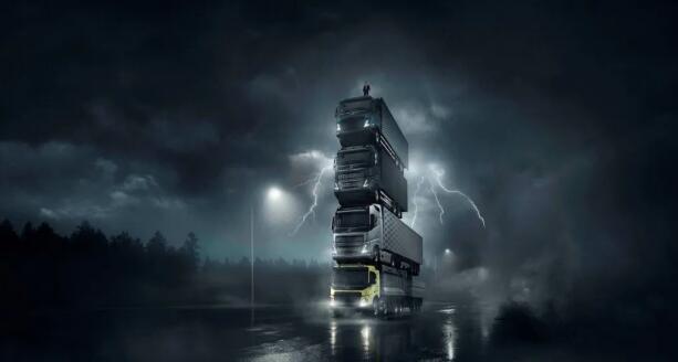 沃尔沃卡车推出四款新车,宣传大片中卡车叠罗汉