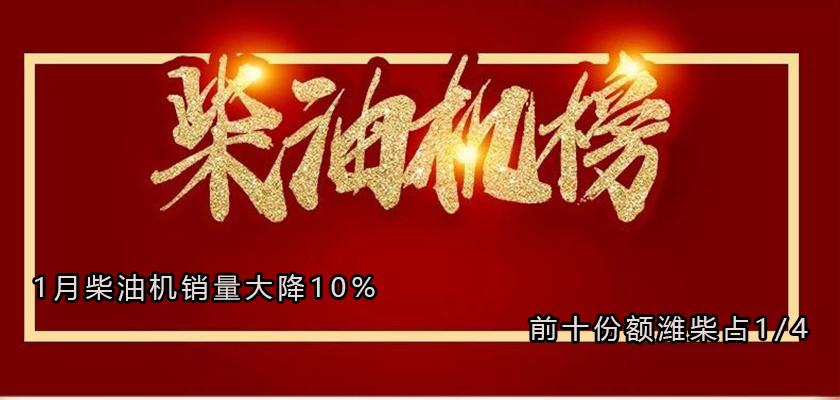 1月柴油机销量大降10% 前十份额潍柴占1/4