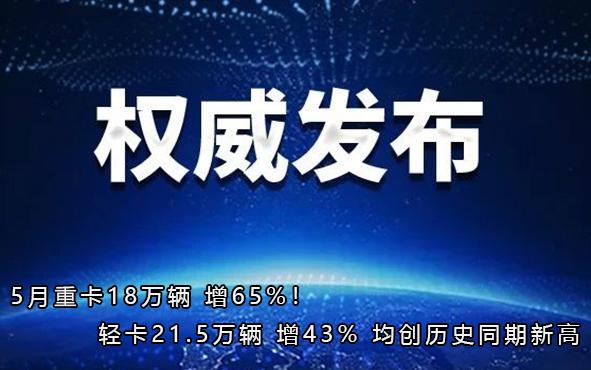 5月重卡18万辆 增65%!轻卡21.5万辆 增43% 均创历史同期新高