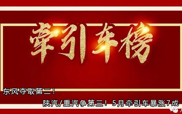 东风夺取第二!陕汽/重汽争第三!5月牵引车暴涨7成