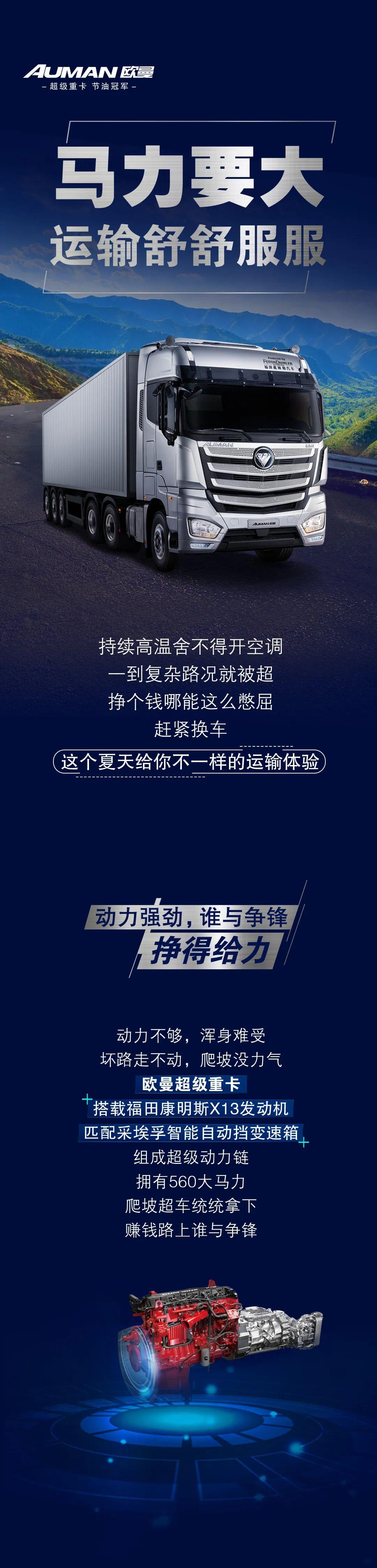 欧曼超级重卡+福康X13+采埃孚 动力强劲 谁与争锋!