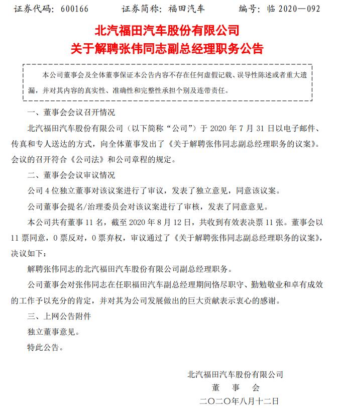 福田汽车发布公告 解聘张伟副总经理职务