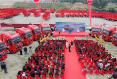 2020年10月19日,上汽红岩与小马国炬缘多物流百台牵引车交车仪式暨2021战略