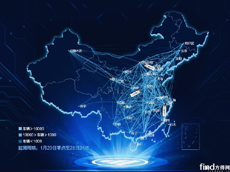 """中国商用车行业首发 """"福田汽车重卡迁徙地图"""""""